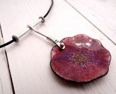Torch Enameled Poppy Flower Necklace by Lost Sparrow Jewelry (like the bail)