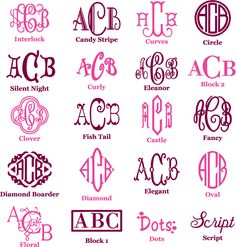different types of monogrammed fonts-useful tool to use when monogramming something