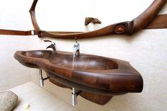 Wooden bathtubs and sinks Wood Tub, Wooden Bathtub, Wood Sink, Wooden Bathroom, Bathroom Basin, Bathroom Furniture, Bathroom Interior, Sink Design, Diy Vanity