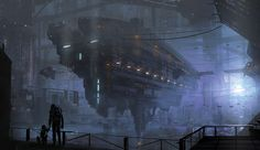 Sci-fi/ shipwreck art | Mighty Spaceship Picture (2d, sci-fi, spaceship, kid, child, blue)