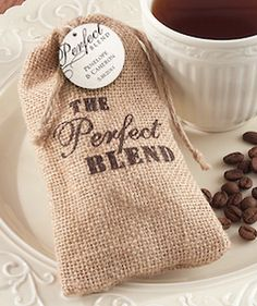 Coffee burlap favor