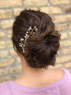 want to liven up your #updo hairstyle? we now offer hair jewelry on site! | elegant bun style with hair comb | hair by goldplaited |prom updo #hairstyle | hair accessories | #updo | wedding hairstyle #weddinghair | prom hairstyle #promhair