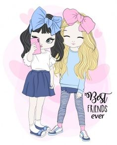 Find Hand Drawn Cute Girls Illustration stock images in HD and millions of other royalty-free stock photos, illustrations and vectors in the Shutterstock collection. Cute Cartoon Girl, Cartoon Girl Drawing, Anime Girl Cute, Best Friend Drawings, Bff Drawings, Cute Girl Image, Girls Image, Cute Girl Illustration, Cute Disney Drawings