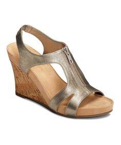 Love this Silver Metallic Photo Plush Wedge Sandal on #zulily! #zulilyfinds