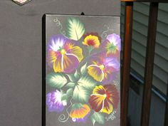 Pansies painted on a photo box.  One Stroke Painting by Susan Earl.