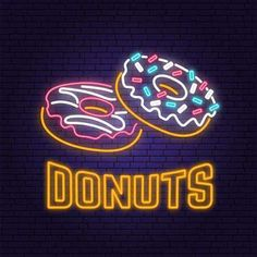 Illustration of Neon donuts retro sign on brick wall background. Design for cafe, restaurant. Neon design for pub or fast food business. vector art, clipart and stock vectors. Disco Background, App Background, Brick Wall Background, Background Design Vector, Adidas Iphone Wallpaper, Neon Backgrounds, Neon Design, Neon Rainbow, Neon Aesthetic