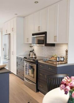 Coloured cabinets with white