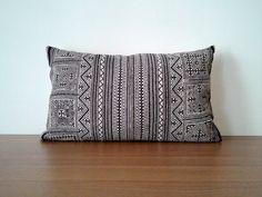 "12""x 20"" Beautiful Black Vintage Hmong Fabric Pillow Cover, Hand Woven Handstamped Ethnic Hemp Batik  Boho Pillow, Costume Textile Pillow"