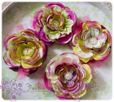 Pink and Lime tulle super fluff flowers.   by FunkyPropsCouture, $10.99