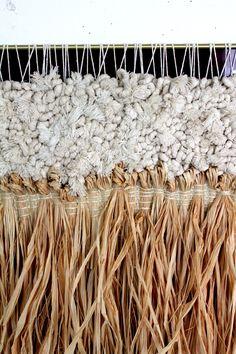 All Roads Chilao Weaving Detail. Cotton & Raffia with red plexiglass and brass. Part of the Santa Ana Collection. Art Fibres Textiles, Motifs Textiles, Weaving Textiles, Weaving Art, Loom Weaving, Tapestry Weaving, Hand Weaving, Textile Texture, Textile Fiber Art