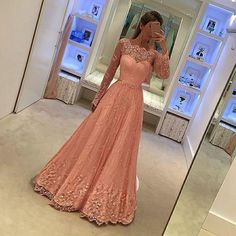 A line Long Sleeves Lace Prom Dress,Illusion Lace