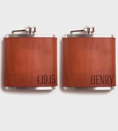 Branded with your initials, a date, or cheeky message of your choice, this handsome leather flask is a refined but rebellious approach to spirits storage. The premium 6 oz. stainless steel flask is leather wrapped and carefully stitched by hand, making it even more awesome than the hooch it's holding.