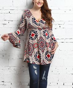 Look at this #zulilyfind! Navy & Red Paisley Surplice Tunic - Plus by Reborn Collection #zulilyfinds