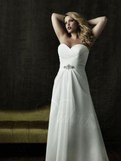 Tucked Sweetheart Wedding Dresses | Tucked Beaded A-line Sweetheart Chapel Train Chiffon Plus Size Wedding Dress - Didobridal
