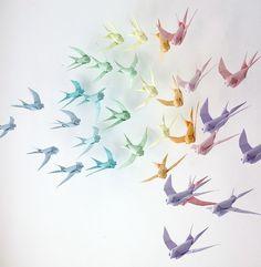 rainbow origami birds paper