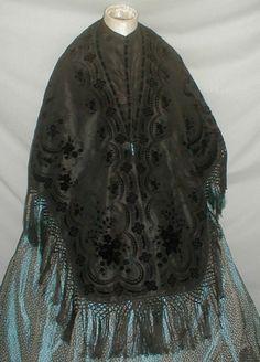 Exquisite 1860's Black Silk & Flocked Velvet Flower Cape