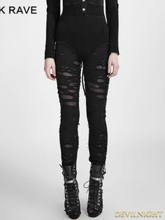 Black Gothic Broken Mesh Leggings