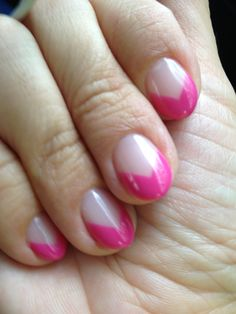 Fresh new calgel mani from Marie Nails! Hot pink triangle French manicure with clear base.