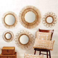 Two's Company Set of 5 Natural Rattan Wall Mirrors (imperfections are natural characteristics of material) - Rattan/Glass – Modish Store