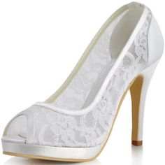 Wedding Shoes And Bridal Shoes: Ep11084-Pf Ivory Peep Toe Pumps Lace High Heels Platform Bridal Party Shoes Us 4 -> BUY IT NOW ONLY: $35.95 on eBay!