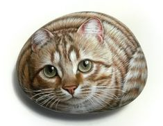 Original Hand Painted on Rock Beautiful Ginger Cat! Painted with Acrylics and finished with satin varnish protection. Animal Stone Art by RockArtAttack on Etsy https://www.etsy.com/listing/542629912/original-hand-painted-on-rock-beautiful