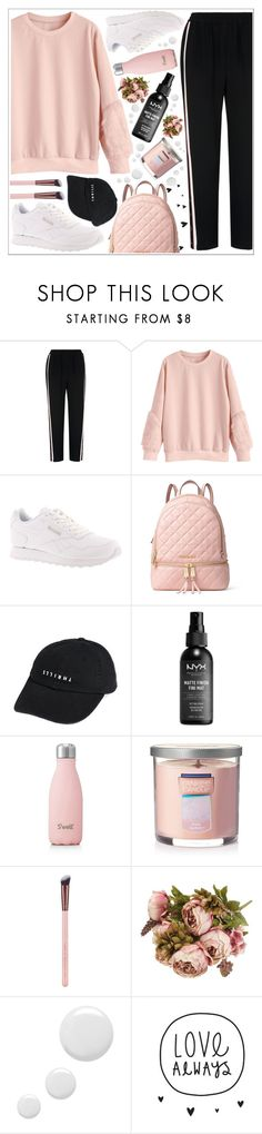 """style"" by lena-volodivchyk ❤ liked on Polyvore featuring Whistles, Reebok, MICHAEL Michael Kors, Thrills, NYX, S'well, Yankee Candle, Luxie and Topshop"
