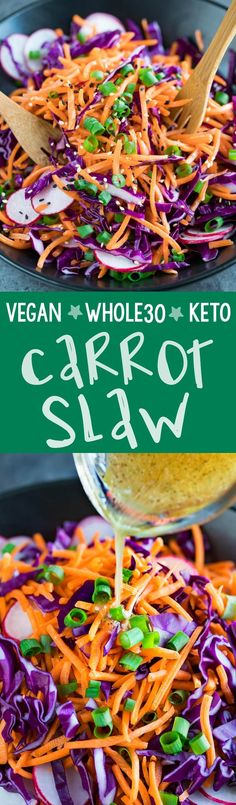 This vegan paleo Whole30 Carrot Slaw is quick, easy, and full of flavor! Mayo-free with no sweeteners added, it's a light and healthy option and great with everything!