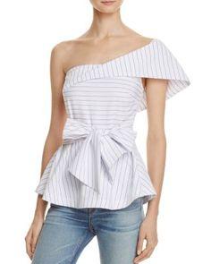 1c57a63f221c0 JOA One Shoulder Stripe Peplum Top - 100% Exclusive Women - Bloomingdale s
