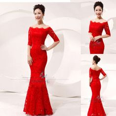 Red Lace Long Fomal Wedding Bridal Ball Gowns Party Prom Evening Dress Size 6-16 #Sureevel #Mermaid #Formal