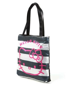 Hello Kitty Black and White Horizontal Stripes Portable Shoulder Bag - Hello Kitty Shoulder Bag - Hello Kitty Stores :: BeardBrother Hello Kitty Bag, Cosmetic Bag, Fashion Bags, Gym Bag, Reusable Tote Bags, Stripes, Shoulder Bag, Wallet, Black And White