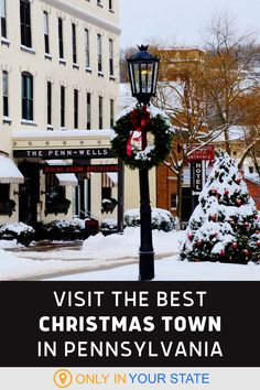 This charming small town in Pennsylvania has the best Main Street at Christmastime. With lights, decorations, and plenty to do, it makes for a family-friendly holiday day trip. Holiday Day, Christmas Town, Holiday Travel, All Things Christmas, Christmas Light Displays, Christmas Lights, Family Friendly Holidays, Festival Decorations, Beautiful Christmas