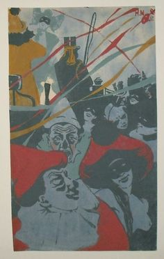 Wimpelkette - Farbholzschnitt - Neumann, Hans (1873-1957) - Karneval, 1903