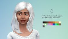 * STATUS tested, nicely done, only eyebrows are needed now - by SIMMIANE - 40 non-default female hair recolors - True White