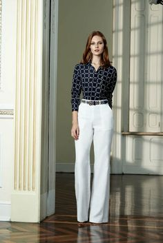Pants with belt loops are a must for me.  I have a blouse that is very close to this one.  I never thought about pairing it with white. Looks good