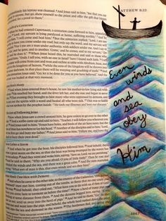 Illustrated faith, Bible art journaling--maybe without the boat and instead do wind curls and then waves on the bottom Faith Bible, My Bible, Bible Art, Bible Scriptures, Bible Quotes, Godly Quotes, Book Art, Art Journaling, Bible Study Journal