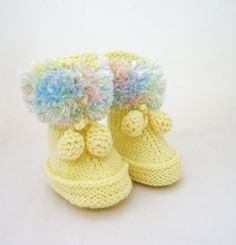 Handknitted Cute Baby Booties Yellow Blue and Pink by evefashion, £10.00