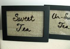 Used burlap in the frame and a dry erase marker. Great for marking food or drinks at a big (or small) gathering.