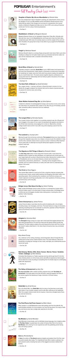 The POPSUGAR Fall Reading List   Download a printable of the 20 must-read books coming out this season!