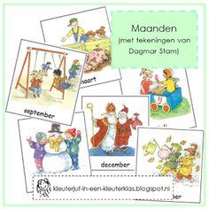 Woordkaarten maanden (met tekeningen van Dagmar Stam)