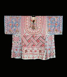 Africa | Woman's blouse / shirt.  Bornu, Nigeria | Cotton; Florette silk, embroidered | 19th century