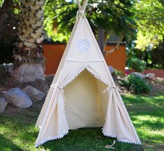 Vintage kids teepee tent/girls canvas Play tent / Tipi Wigwam or Playhouse with poles and Door Ties