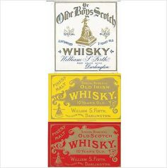3 SUPERB OLD SCOTS and IRISH WHISKY LABELS from DARLINGTON ENGLAND VERY EARLY!! Available to buy now in my Ebid listings