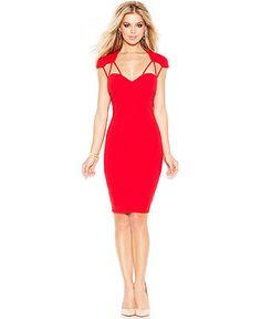 GUESS Cap-Sleeve Cutout Body-Con Dress Women - Dresses - Macy s 0164f0f3db