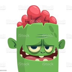 Cartoon scary zombie. Halloween vector illustration - Векторная графика Векторная графика роялти-фри Vampire Cartoon, Zombie Cartoon, Funny Cartoons, Yoshi, Luigi, The Outsiders, Halloween, Illustration, Pink