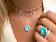 Paraiba Tourmaline and Diamonds