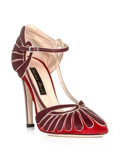 Recalling the heyday of 1930's deco elegance. Red Agatha suede, leather and stingray shoes by Chrissie Morris.