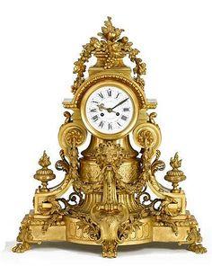 Fine French gilt bronze mantle clock, veuve raulin bigot & c                                                                                                                                                                                 More