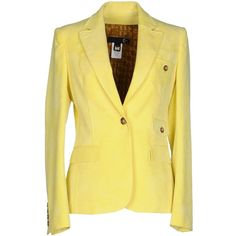 Just Cavalli Blazer ($185) ❤ liked on Polyvore featuring outerwear, jackets, blazers, yellow, beige jacket, yellow blazer jacket, velvet blazer, velvet jacket and yellow jacket