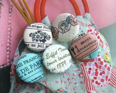 Your place to buy and sell all things handmade Fabric Covered Button, Covered Buttons, North And South America, Paris Eiffel Tower, Paris Theme, Vintage Paris, Pink Yellow, Script, Retro