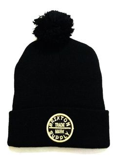 dd468743e6433 Mens   Womens Brixton Supply Co Oath III Logo Cuff Fashion Trend Best  Quality Knit Pom Beanie Cap - Black